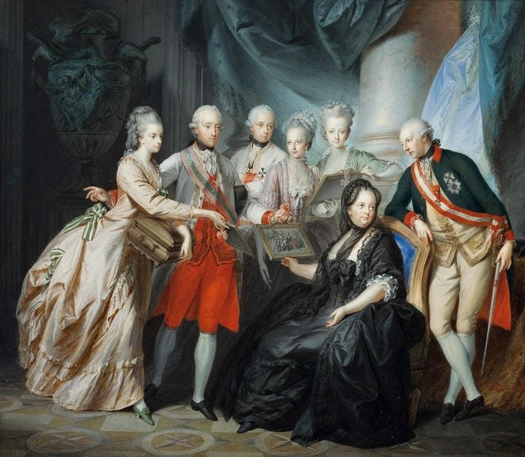 Maria Theresa con i suoi figli, Heinrich Füger (1776), Galleria Belvedere, Vienna