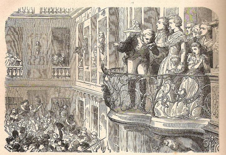 Luigi XVI, Maria Antonietta e il generale La Fayette, di fronte alla folla inferocita al balcone di Versailles