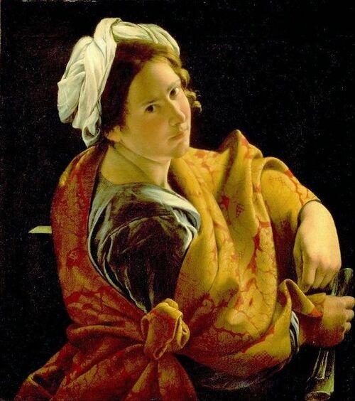 Artemisia Gentileschi nel Ritratto di giovane donna come sibilla del padre Orazio Gentileschi