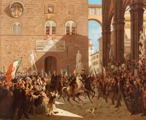 L'arrivo di Vittorio Emanuele II in Piazza della Signoria di Firenze