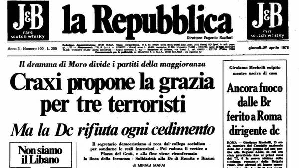 La Repubblica titola Craxi propone la grazia per tre terroristi