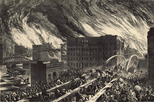 Il Grande Incendio di Chicago in un'opera di John R. Chapin